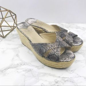 Kelsi Dagger Bianca Snake Print Wedge Sandals